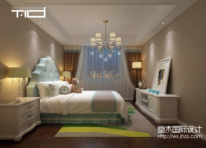 简欧风格-太湖锦绣园-别墅-450平-卧室-装修效果图