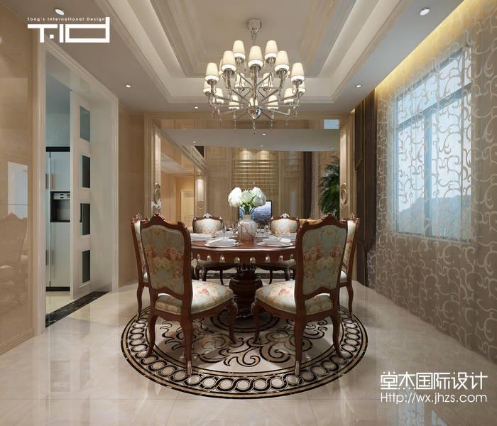 简欧风格-太湖锦绣园-别墅-450平-餐厅-装修效果图