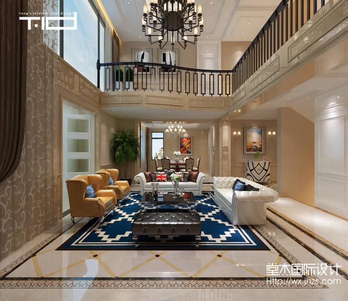 简欧风格-太湖锦绣园-别墅-450平-客厅-装修效果图