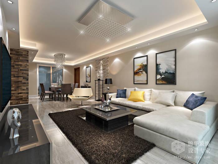 金科世界城140平现代简约风格效果图装修-三室两厅-现代简约