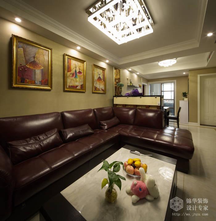 长江国际朗庭89平客厅挑高现代简约风格实景图