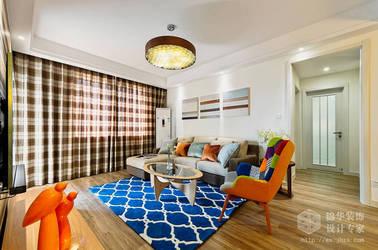 简约风格-长江国际朗庭-两室两厅-89平-装修效果实景图