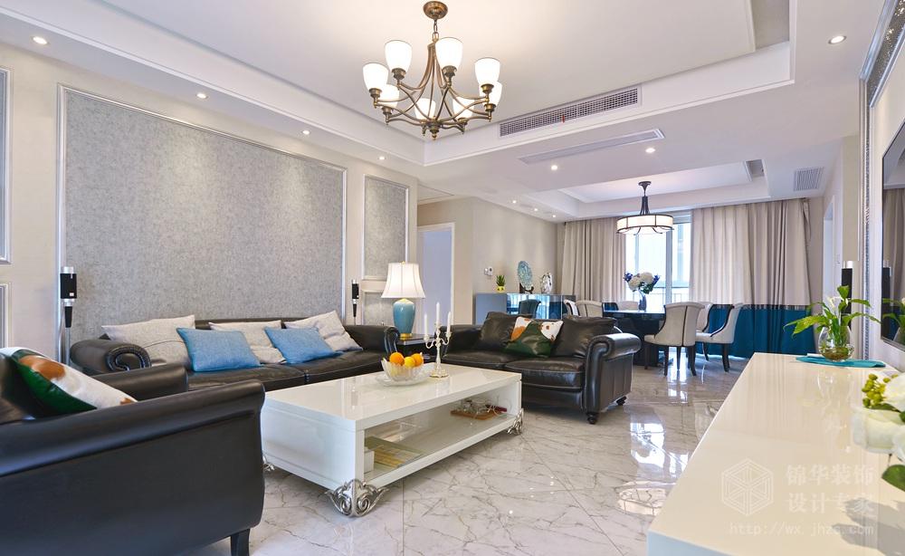 现代简约风格-中建溪岸观邸-复式-180平-客厅-装修实景效果图