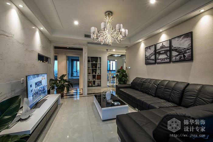 现代简约风格-中邦城市花园-三室两厅-129平米-客厅-装修实景效果图