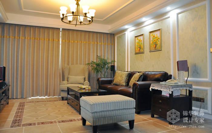 欧风新天地130平简约美式风格实景样板间装修-三室两厅-美式田园