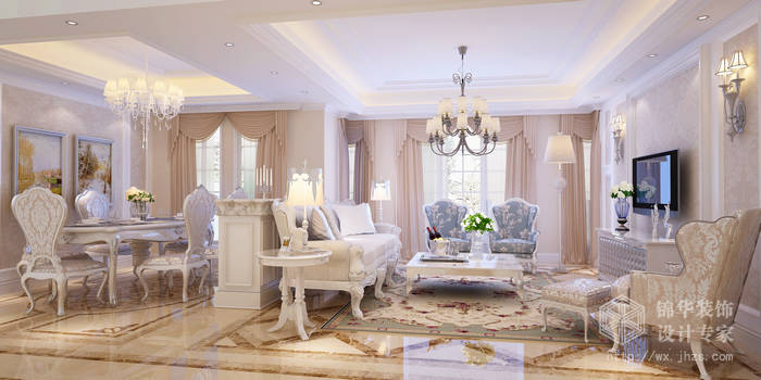 太湖国际150平四房两厅三卫简欧风格效果图
