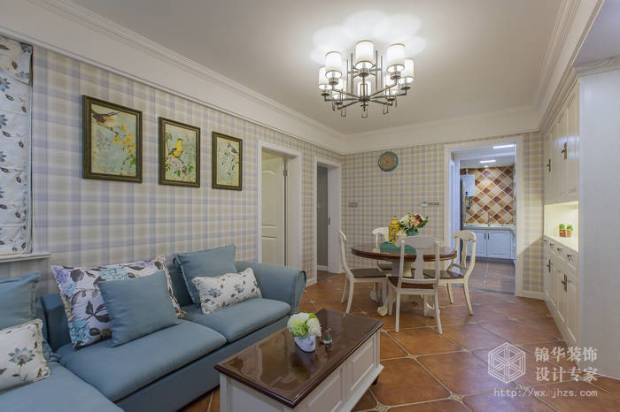美式乡村风格-惠景家园-两室两厅-80平米-装修效果实景图