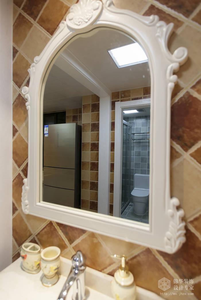 美式乡村风格-惠景家园-两室两厅-80平米-卫生间-装修效果实景图