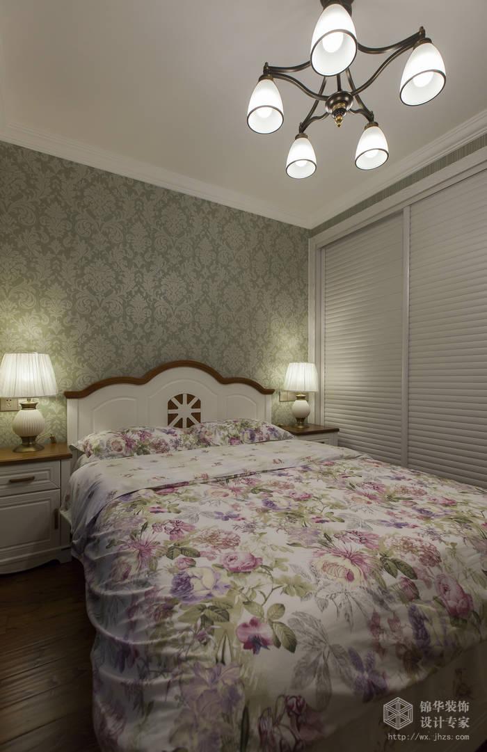 美式乡村风格-惠景家园-两室两厅-80平米-卧室-装修效果实景图