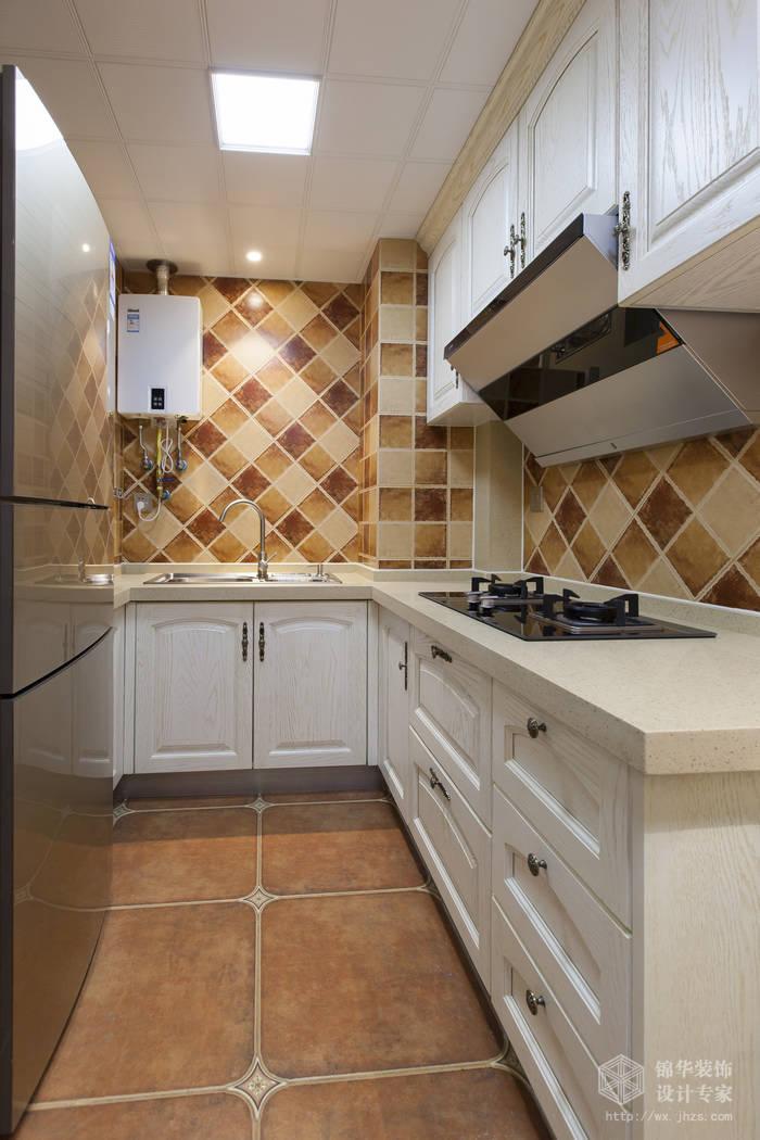 美式乡村风格-惠景家园-两室两厅-80平米-厨房-装修效果实景图
