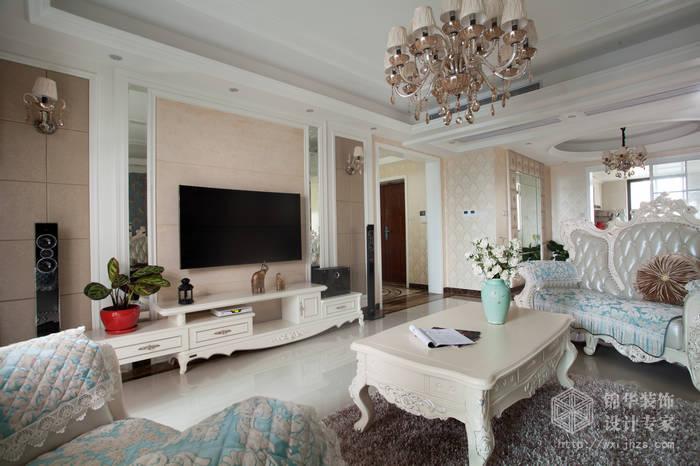 简欧风格-尚东雅园-四室两厅-185平-客厅-装修实景效果图