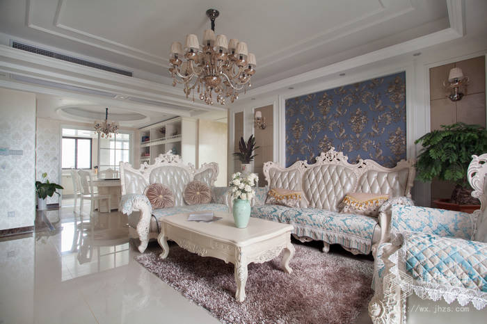 简欧风格-尚东雅园-四室两厅-185平-沙发-装修实景效果图