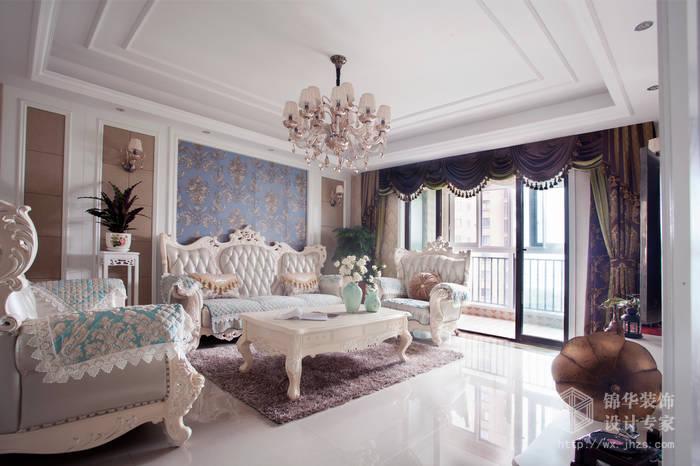 简欧风格-尚东雅园-四室两厅-185平-客厅沙发-装修实景效果图