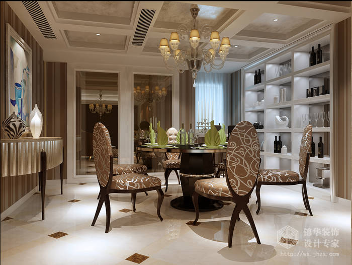 奥澜半岛138平三房两厅二卫简欧风格效果图装修-三室两厅-简欧
