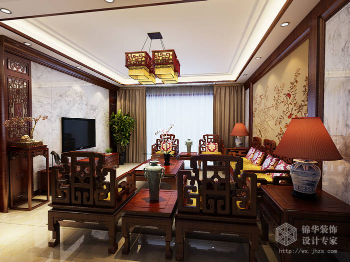 奥林匹克花园130平三房两厅一卫新中式风格效果图装修-三室两厅-新图片
