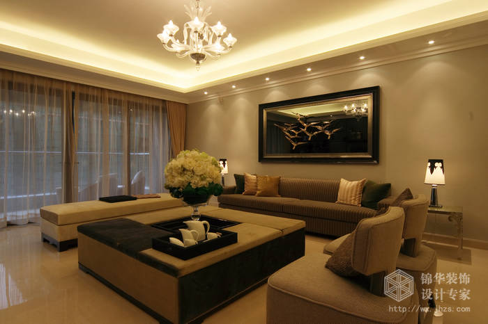 蔚蓝观邸142平三室两厅现代风格实景样板间装修-三室两厅-简欧