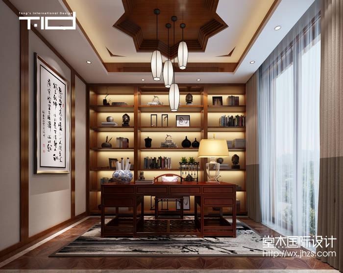 新中式风格-印象剑桥-别墅-500平-书房-装修效果实景图