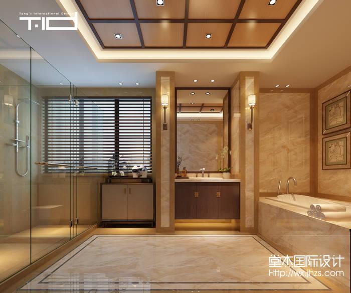 新中式风格-印象剑桥-别墅-500平-卫生间-装修效果实景图