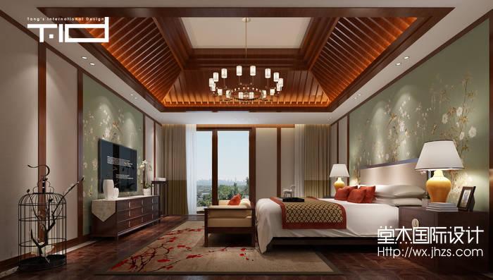 新中式风格-印象剑桥-别墅-500平-卧室-装修效果实景图