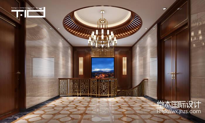 新中式风格-印象剑桥-别墅-500平-玄关-装修效果实景图