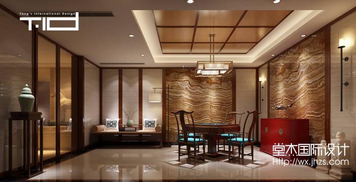 新中式风格-印象剑桥-别墅-500平-健身房-装修效果实景图