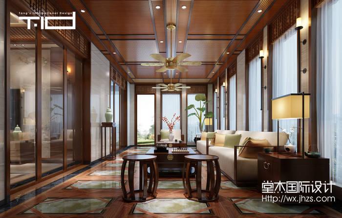新中式风格-印象剑桥-别墅-500平-客厅-装修效果实景图