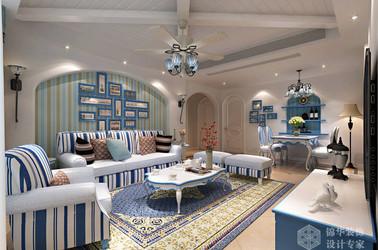 地中海风格-金太湖-三室两厅-120平-装修效果图
