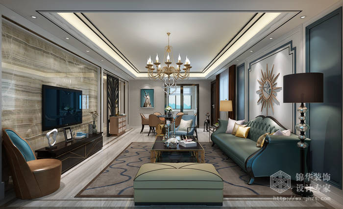 效果图装修 三室两厅装修效果图 现代简约风格 无锡锦华装饰