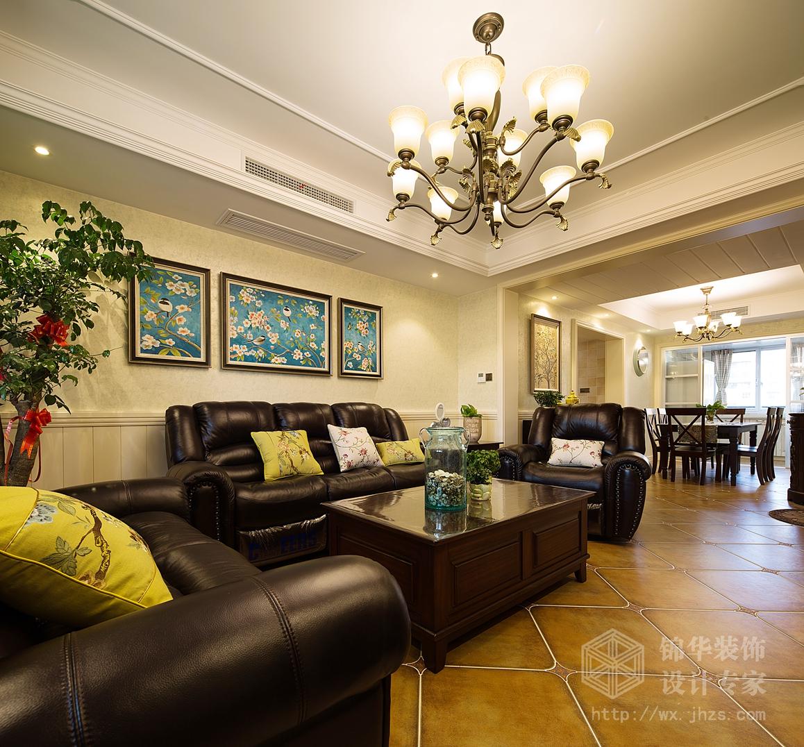 融创熙园137平三室两厅一卫美式风格实景图