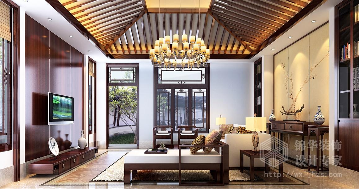 中堂院墅380平中式风格效果图图片
