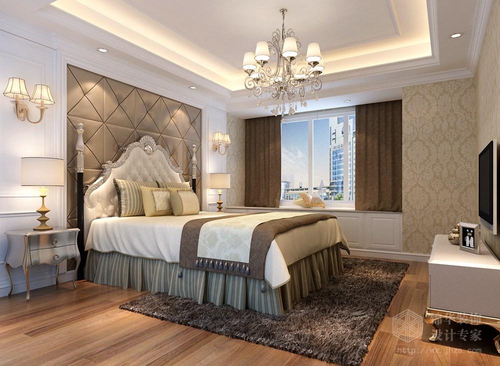 華仁鳳凰城160平米三室兩廳兩衛簡歐風格效果圖裝修-三室兩廳-簡歐