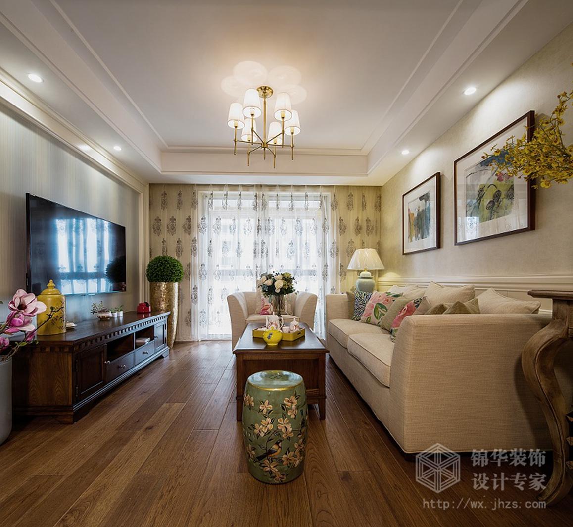 保利中央公园98平三室两厅现代美式风格实景图