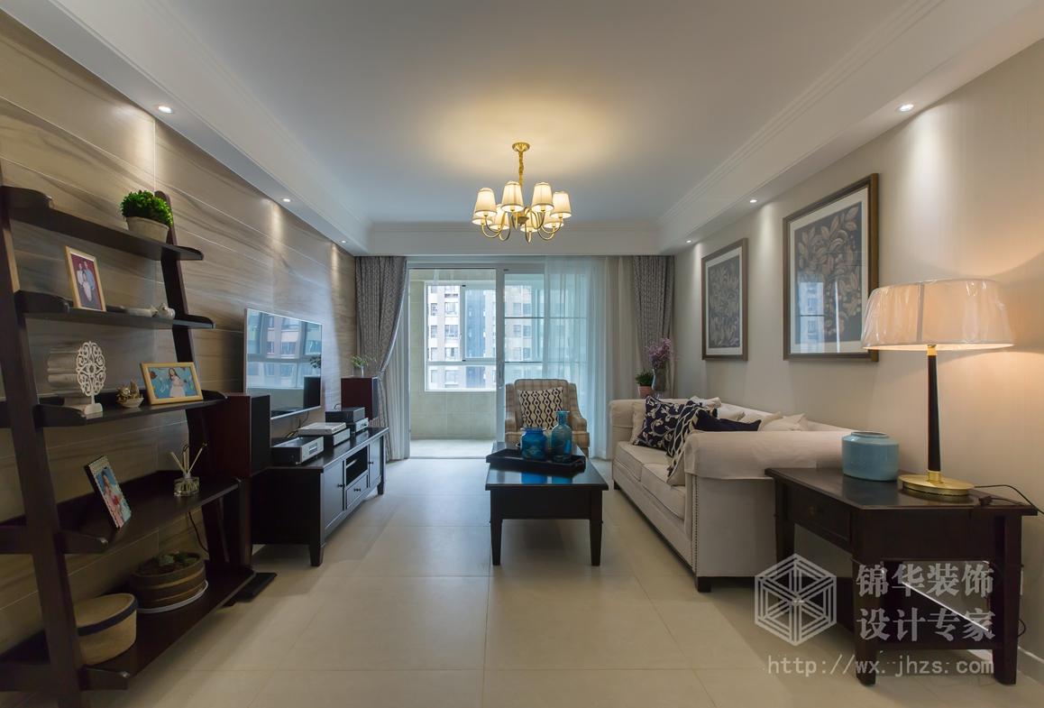 简约美式-复地悦城-三室两厅-117平-装修效果实景图