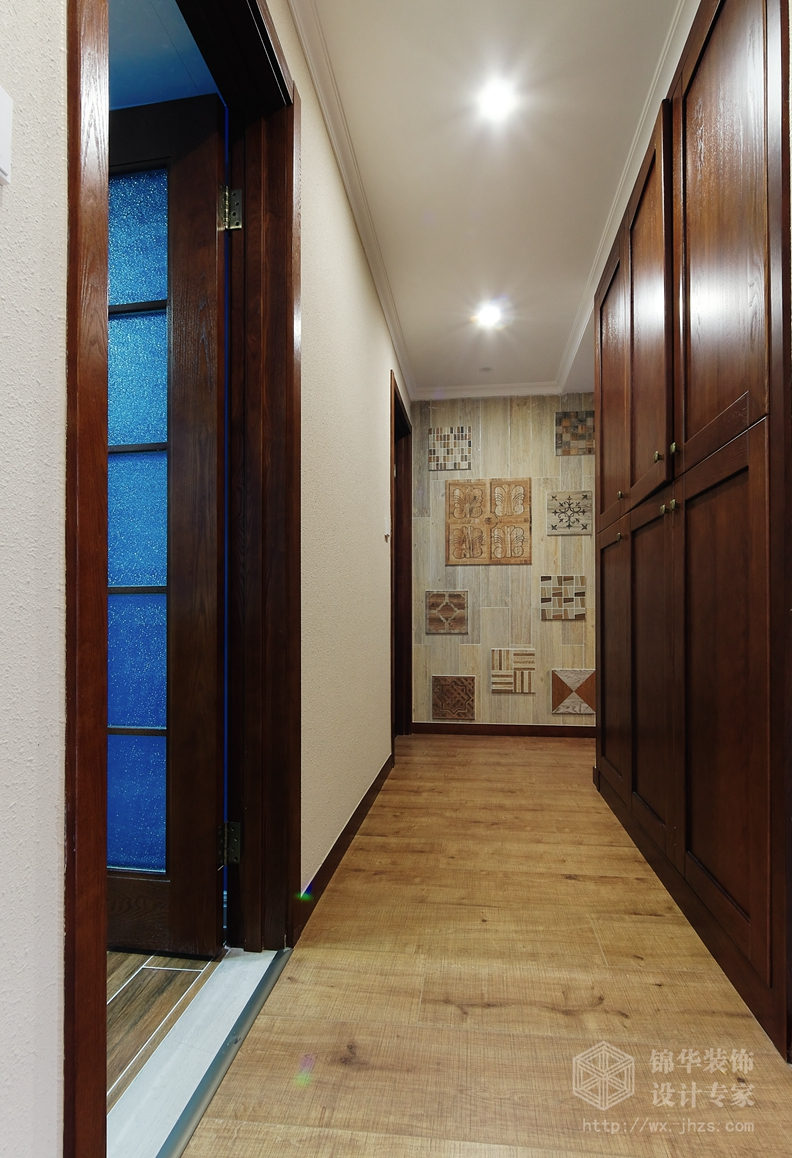 美式田园-太湖国际-四室两厅-135平-过道-装修效果实景图