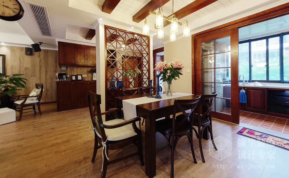 美式田园-太湖国际-四室两厅-135平-餐厅-装修效果实景图