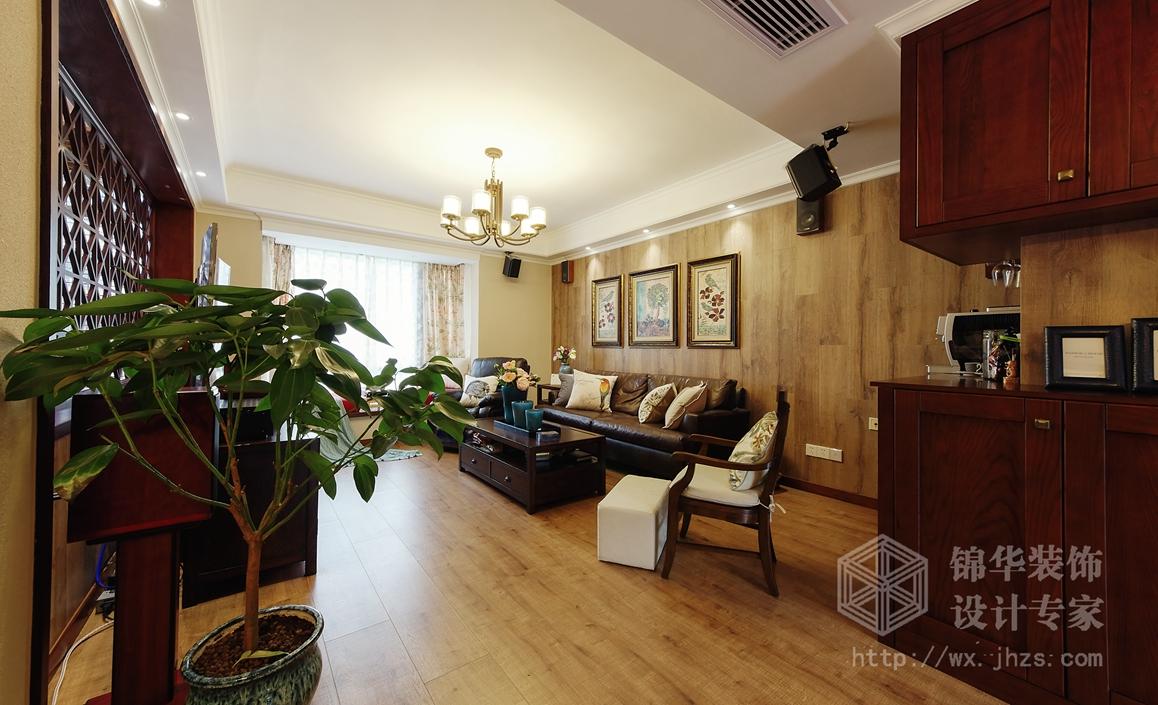 美式田园-太湖国际-四室两厅-135平-客厅-装修效果实景图