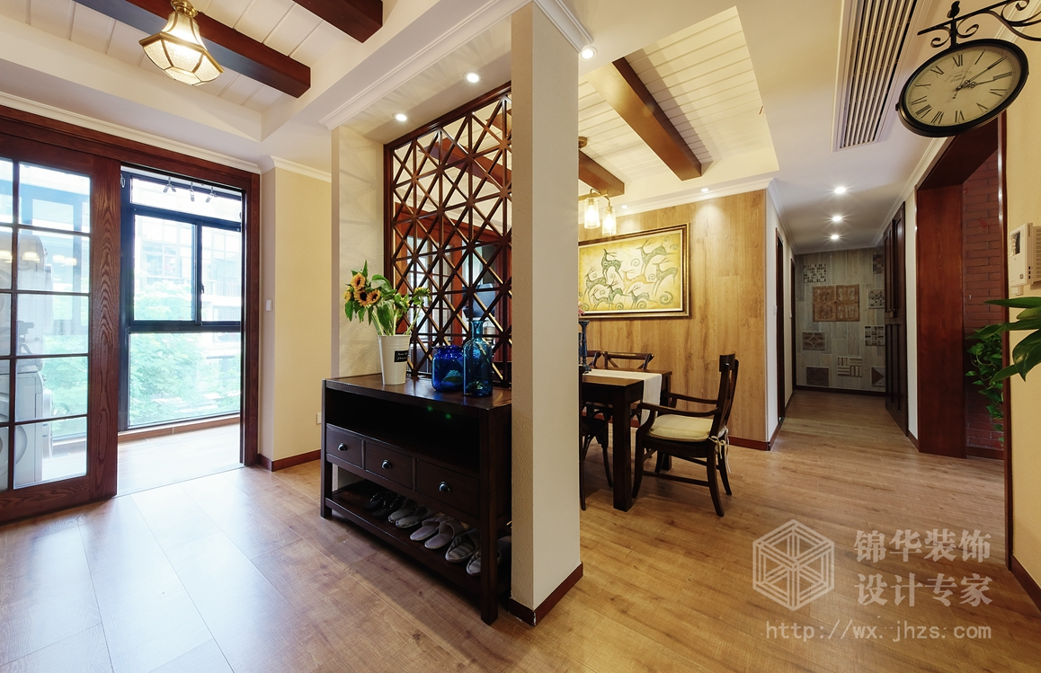 美式田园-太湖国际-四室两厅-135平-玄关-装修效果实景图