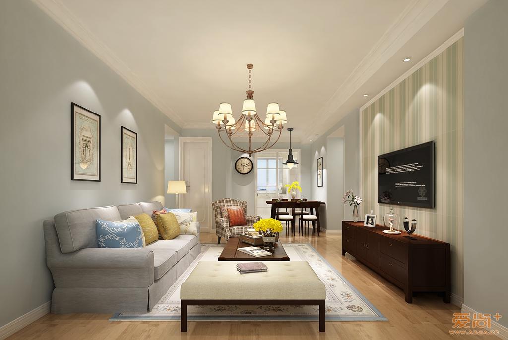 琥珀澜湾95平小美风格效果图装修-两室两厅-美式乡村