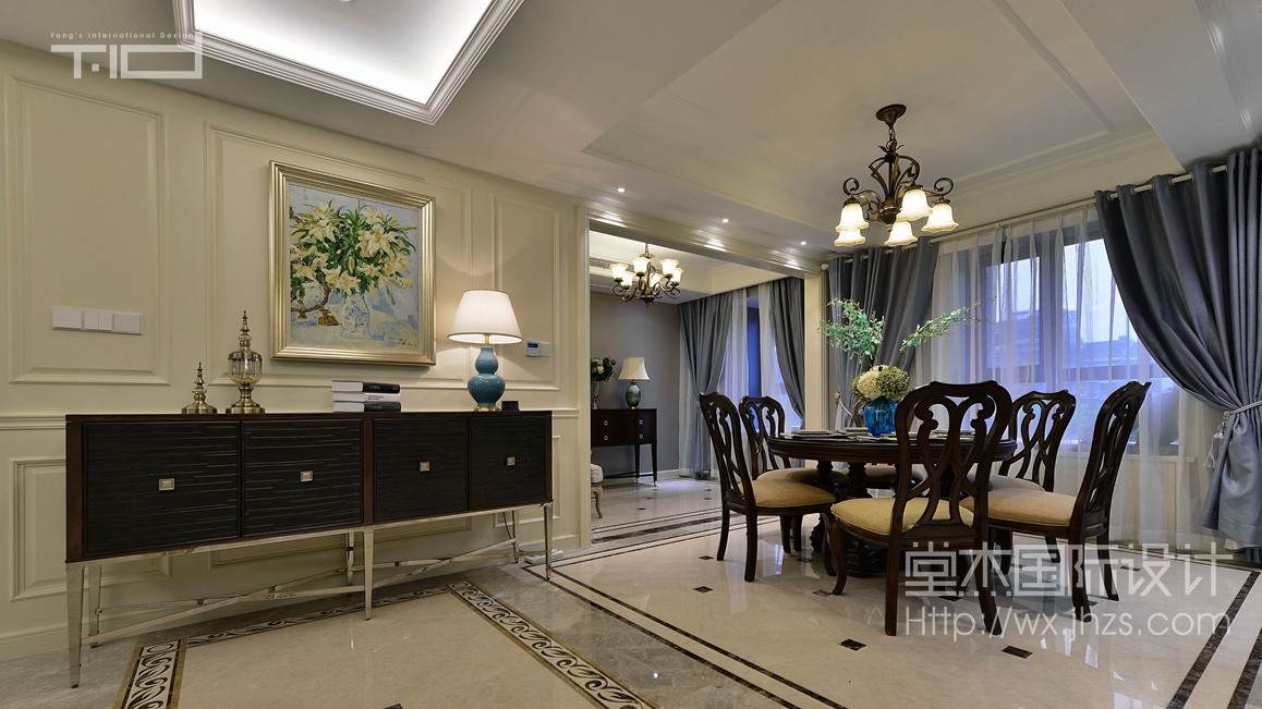 天元世家270平复式现代美式风格实景样板间装修-跃层