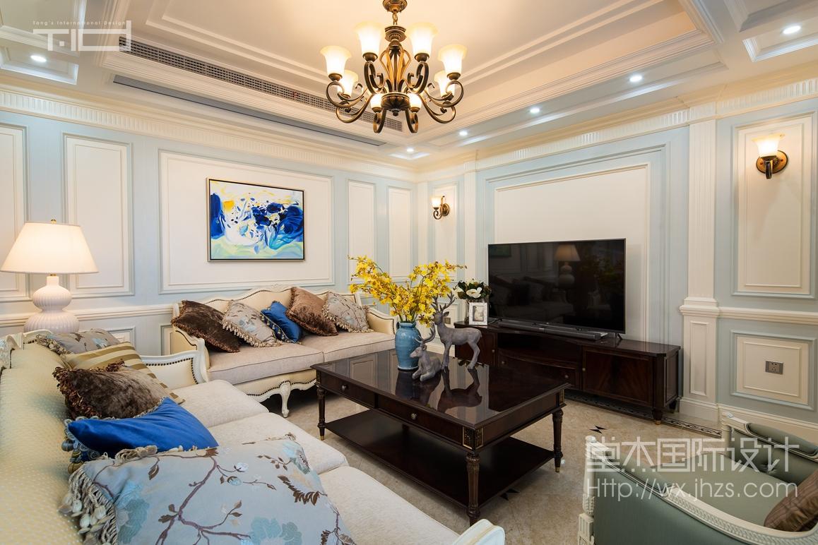 简美风格-凯旋门-三室两厅-192平-装修效果实景图