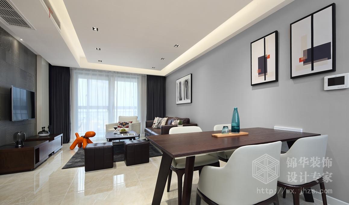 北欧风格-长江国际泓园-三室两厅-118平-餐厅-装修效果实景图