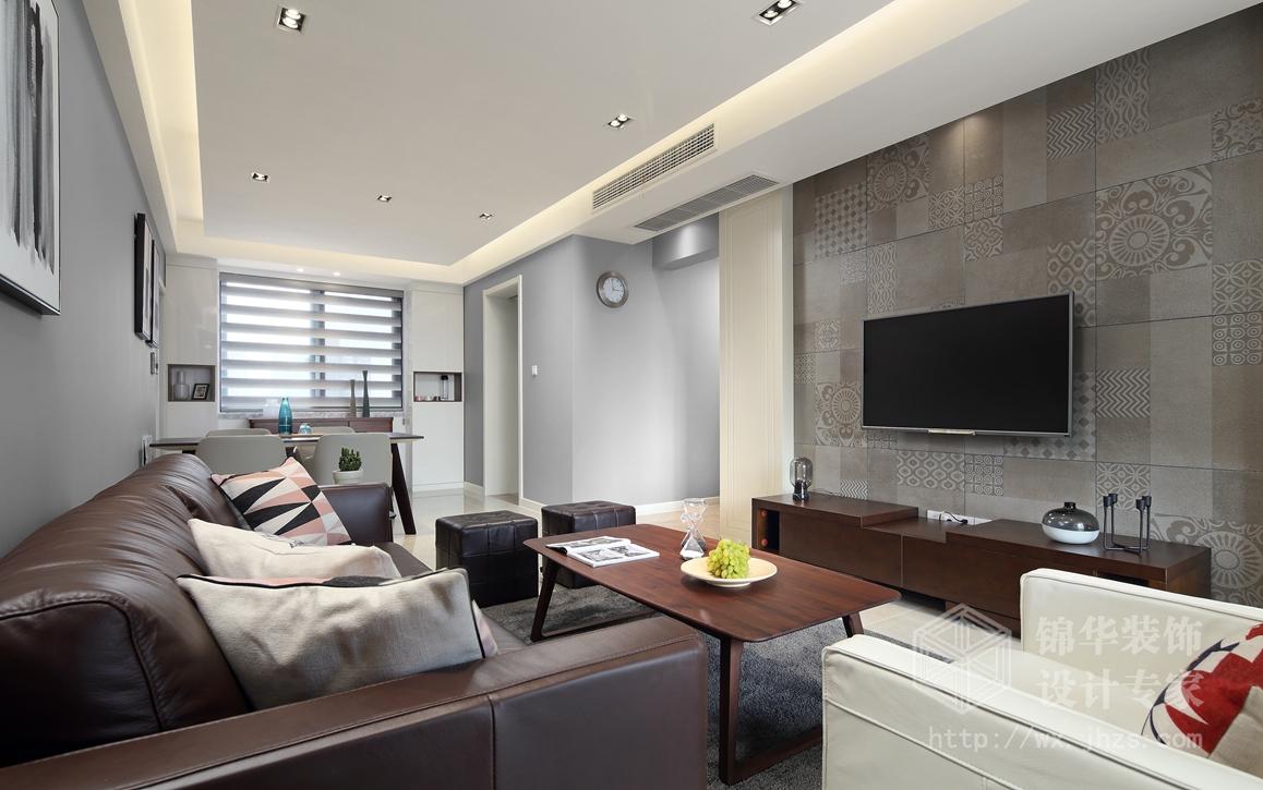 北欧风格-长江国际泓园-三室两厅-118平-客厅-装修效果实景图
