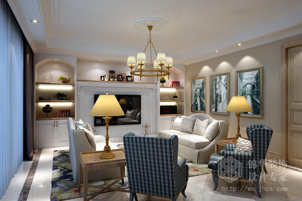 太湖国际凯旋门三室两厅两卫美式田园风格效果图