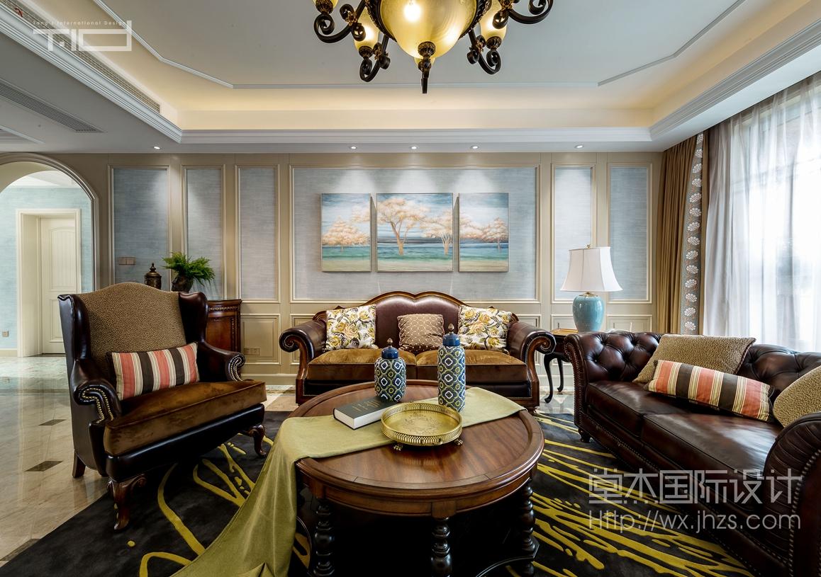 美式风格-保利达江湾城-大户型-206平-装修效果实景图