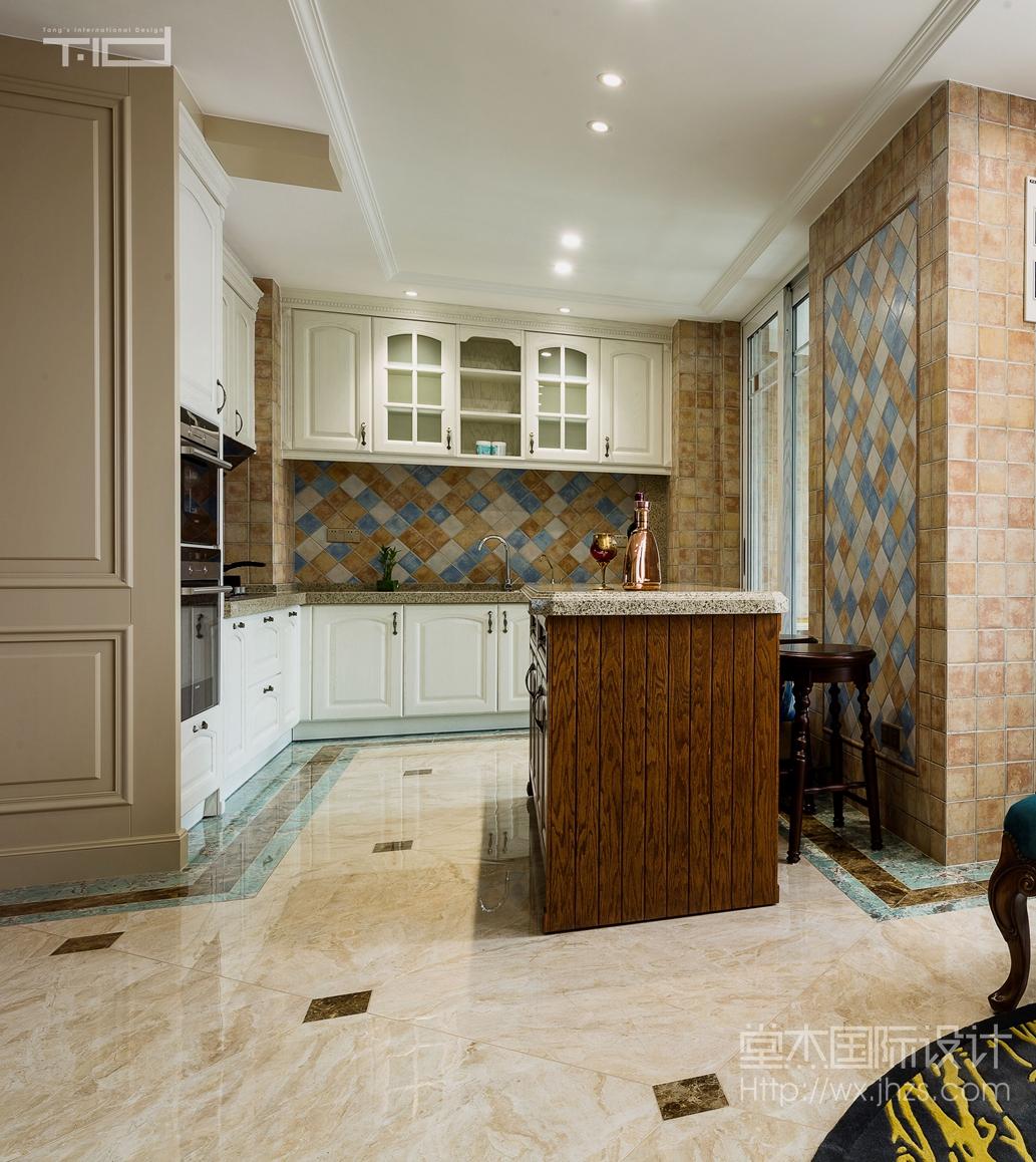 美式风格-保利达江湾城-大户型-206平-厨房-装修效果实景图