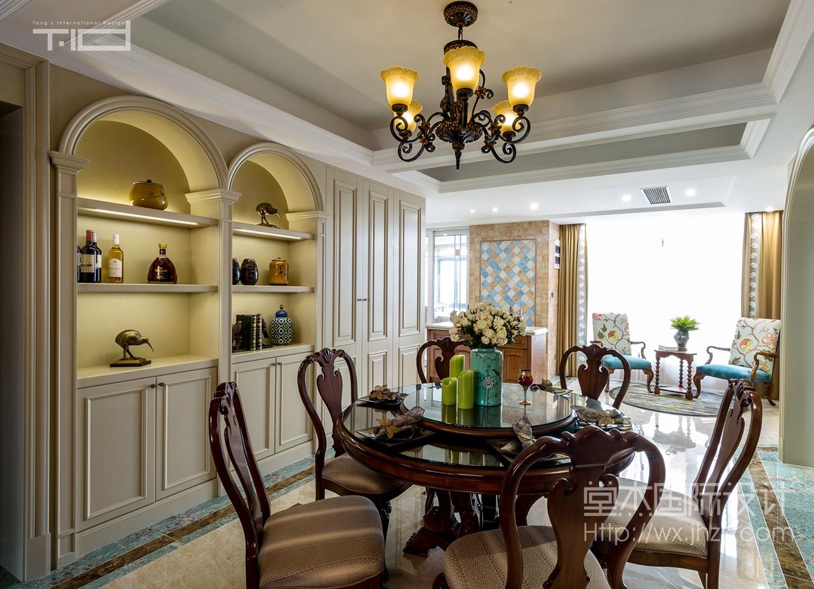 美式风格-保利达江湾城-大户型-206平-餐厅-装修效果实景图