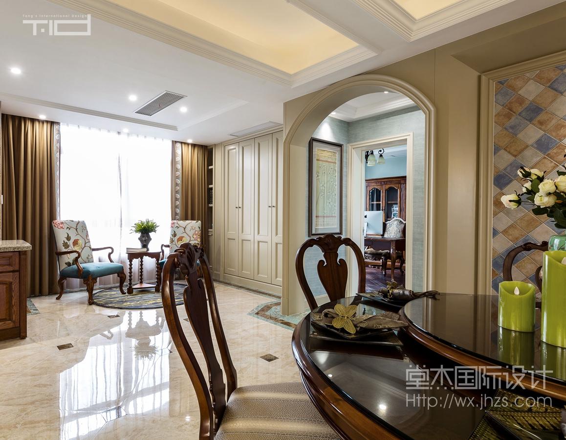 美式风格-保利达江湾城-大户型-206平-客厅-装修效果实景图