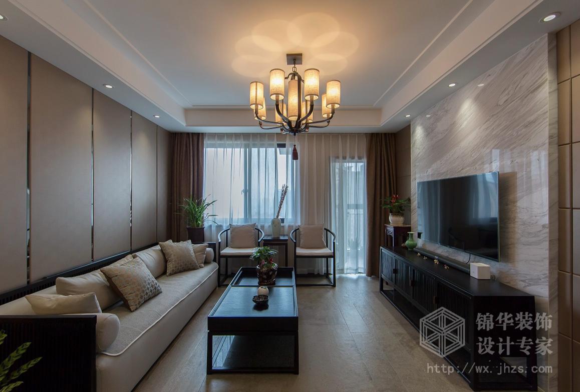 现代中式风格-长江国际鸿园-三室两厅-129平米-装修实景效果图