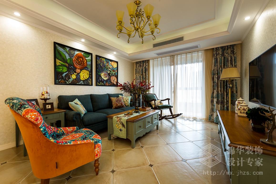 简约美式风格-欧风新天地-三室两厅-120平-装修实景效果图