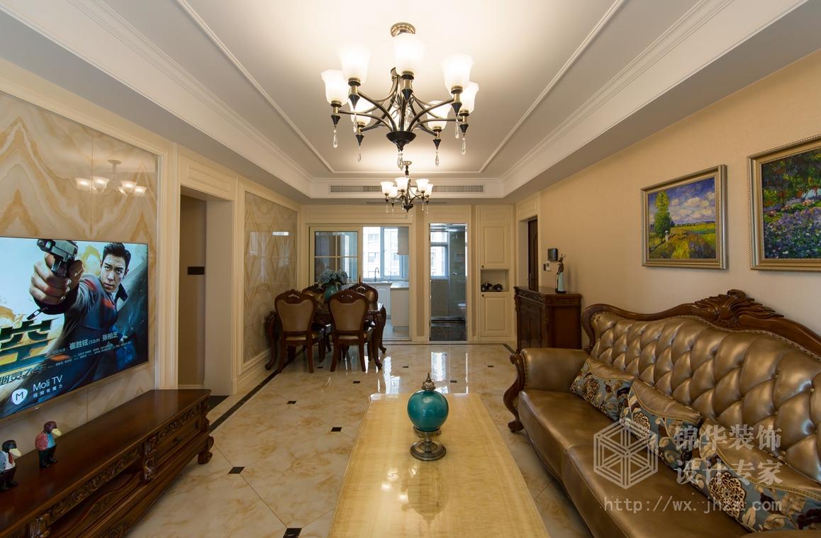看了之后发现业主喜欢的家具是美式的皮沙发,所以整体风格定位为美式图片